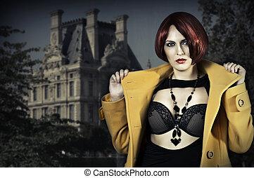 mulher, agasalho, jovem, amarela, cabelo, vermelho