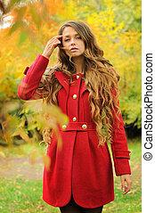 mulher, agasalho, jovem, outono, moda, vestido, vermelho, park.
