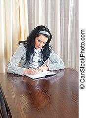 mulher, agenda, escrita