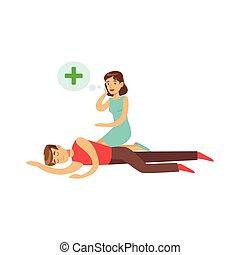 mulher, ajuda, inconsciente, móvel, jovem, ilustração,...