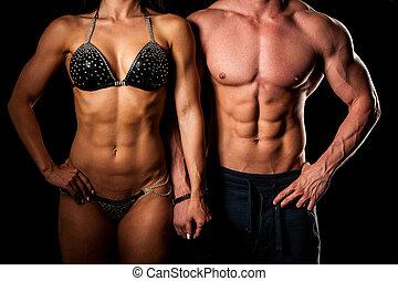 mulher, ajustar, par, -, estúdio, condicão física, poses, homem