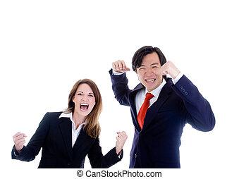 mulher, alegrando, negócio, feliz, equipe, homem, caucasiano, asiático, branca
