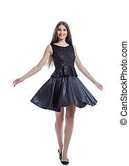 mulher, alegre, posar, excitado, elegante, vestido