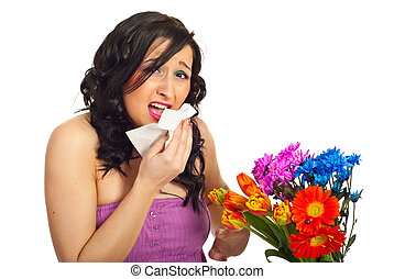 mulher, alergia, jovem