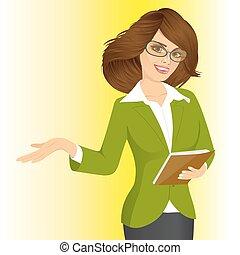 mulher, algo, negócio, mostrando, sorrindo