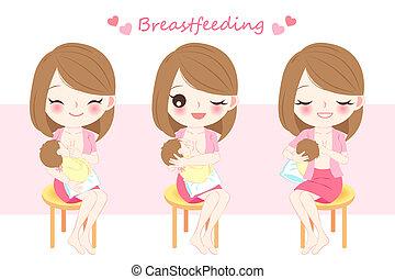 mulher, alimentação, peito