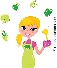 mulher, alimento, isolado, -, preparar, verde, saudável, cozinhar, v, branca