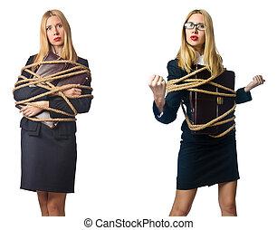 mulher, amarrado, isolado, ligado, a, fundo branco