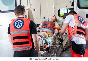 mulher, ambulância