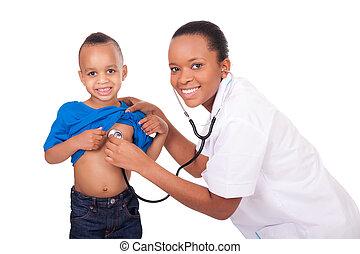 mulher americana africana, doutor, criança