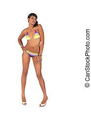mulher americana africana, em, um, biquíni