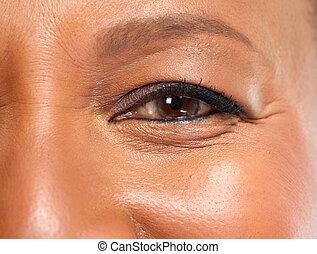 mulher americana africana, olho