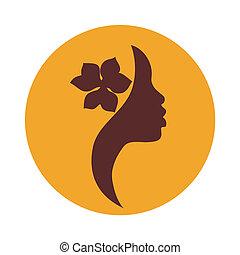 mulher americana africana, rosto, ícone