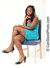 mulher americana, africano