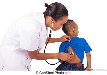 mulher americana, criança, africano, doutor