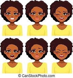 mulher americana, expressões, africano