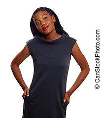 mulher americana, negócio, africano