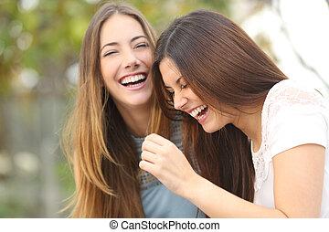 mulher, amigos, feliz, dois, rir