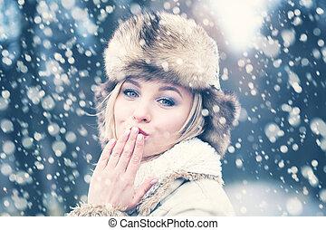 mulher, amor, inverno, neve, fundo, feliz