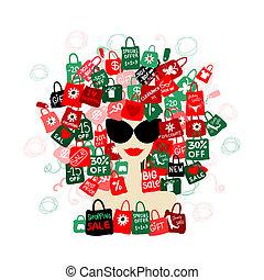 mulher, amor, moda, sale!, shopping, seu, retrato, desenho, conceito