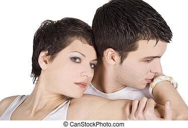 mulher, amor, par, atraente, branca, homem, sobre, feliz