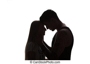 mulher, amor, par, isolado, jovem, pretas, carícias, homem, retrato, branca, apaixonado, pescoço, sensual, atraente