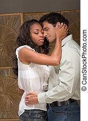 mulher, amor, par, jovem, beijando, homem