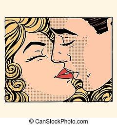 mulher, amor, par, retro, beijo, homem