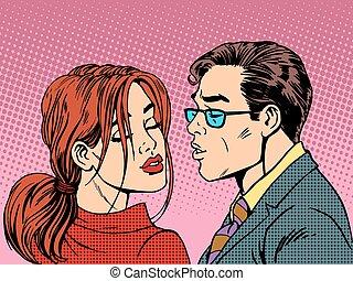 mulher, amor, par, romance, beijo, homem