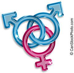 mulher, amor, símbolo, homens, dois, entre, triangulo