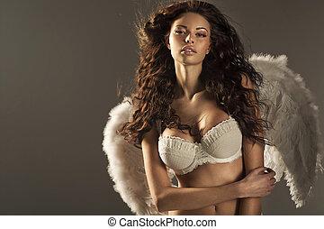 mulher, anjo, com, excitado, grande, lábios