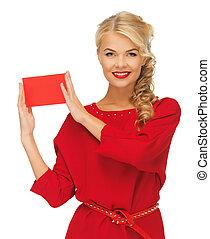 mulher, anote cartão, encantador, vestido, vermelho