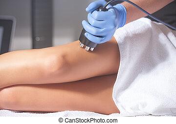 mulher, anti-cellulite, tratamento