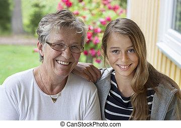 mulher, antigas, adolescente