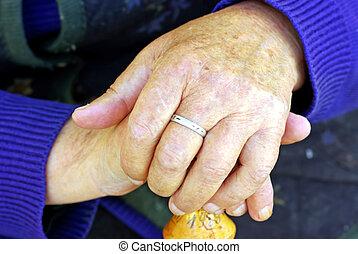 mulher, antigas, mão