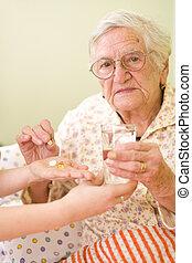 mulher, antigas, medicações
