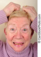 mulher, antigas, muito, idade, transtorne, um