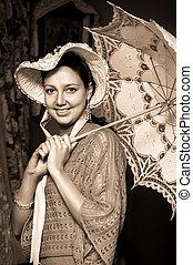 mulher, antigas, renda, chapéu, guarda-chuva
