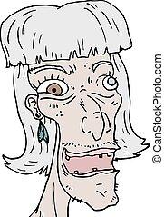 mulher, antigas, rosto