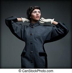 mulher, antiquado, cobrança, outono, elegante, outfit., ...