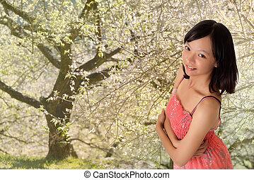 mulher, ao ar livre, atraente, asiático