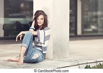 mulher, ao ar livre, descalço, atraente, verão