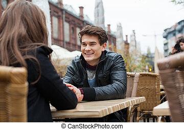 mulher, Ao ar livre, homem, restaurante