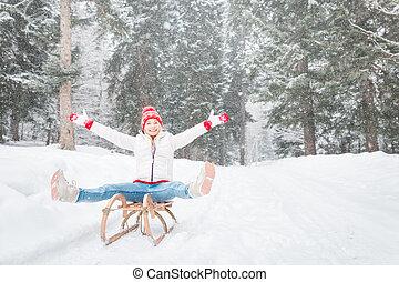 mulher, ao ar livre, inverno, feliz