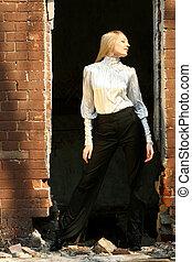 mulher, ao ar livre, moda