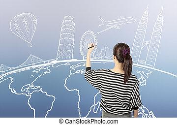 mulher, ao redor, viagem, ou, escrita, asiático, mundo, sonho, desenho