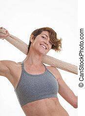 mulher, após, exercício