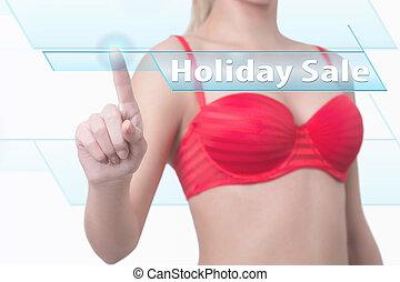 mulher, apertando, feriado, venda, botão