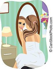 mulher, aplicando batom, quarto, olhando jovem, espelho