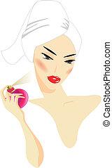 mulher, aplicando, perfume